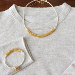 Kumihimo Necklace Set (Gold)