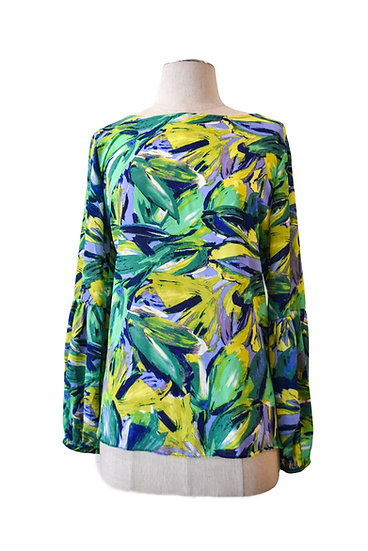 Blusa Estampada Hojas Verdes