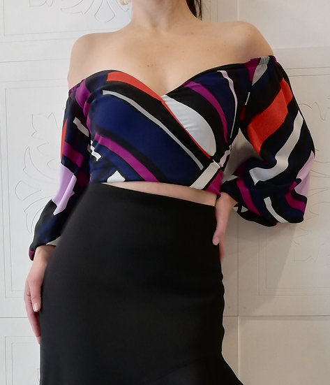 Crop Off Shoulders Bloques De Color