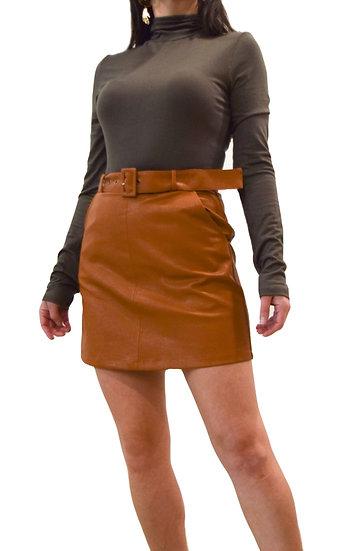 Falda Cuerina Con Cinturón