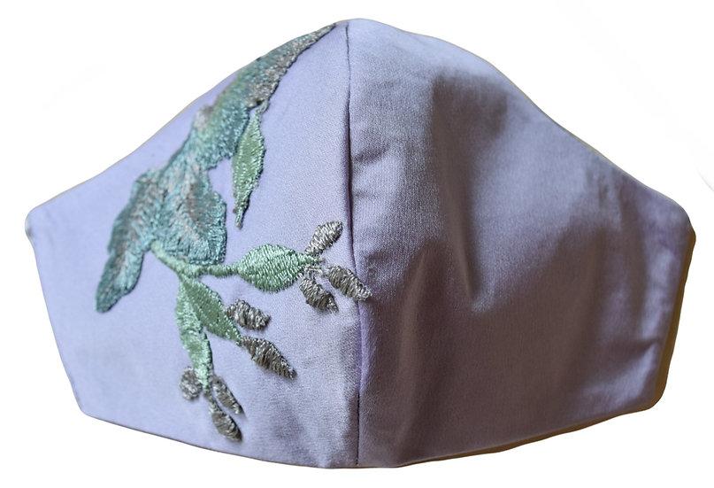 Mascarilla Bordada Lila - Verde