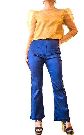 Pantalon Satinado Tiro Alto Basta Ancha