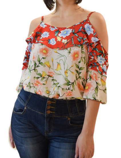 Blusa Doble Color Estampado Floral