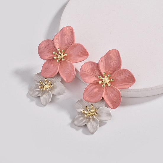 Aretes Flores Colgantes Bicolor