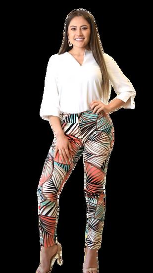 Pantalón Print Tropical Hojas