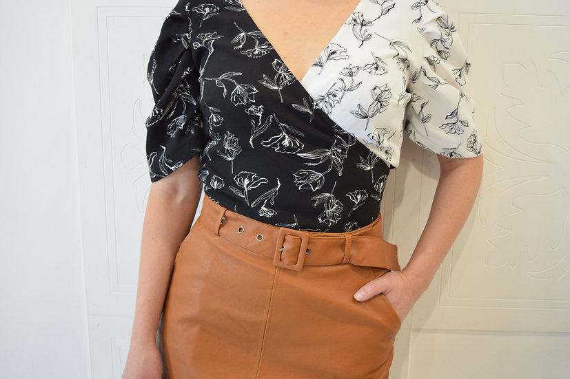 Blusa Cruzada Bicolor