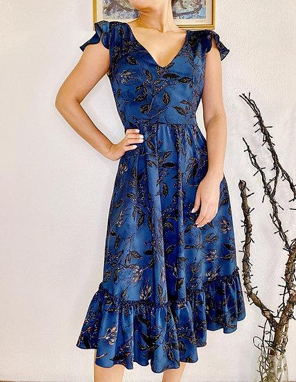 Vestido Azul Flores Falda Acampanada