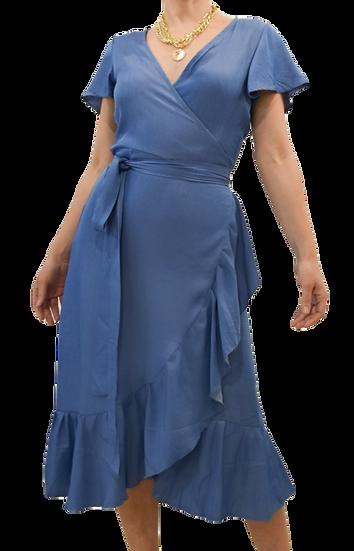 Vestido Azul Jean Cruzado