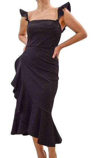 Vestido Entallado Negro Vuelos