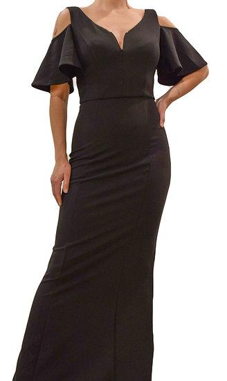 Vestido Entallado Negro Largo