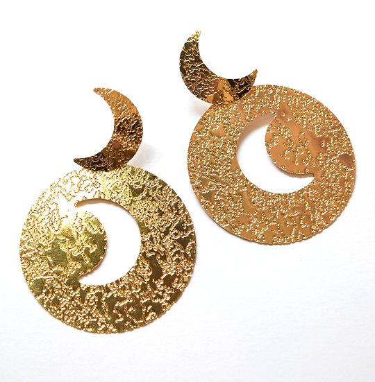 Aretes Dorados Luna Grandes