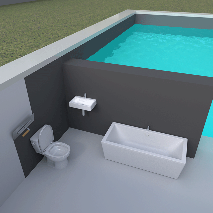 Swimming pool and bathroom