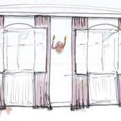 Skizze Klavierzimmer Vorhänge