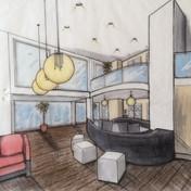 Zeichnung Hotel Lobby