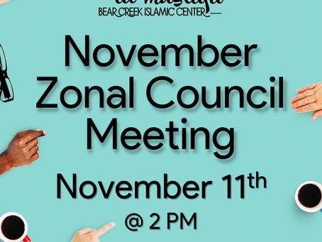 November Zonal Council Meeting (11/11)