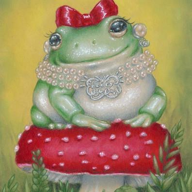 @trashkittyartdraws a lovely frog wearing  the Beepy Bella triple strand necklace