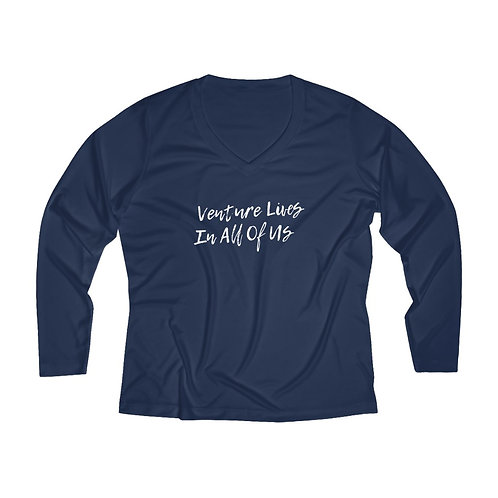 Women's Venture Lives Long Sleeve Quick Dry V-neck Tee