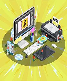 3D computer illustarion displaying creative software