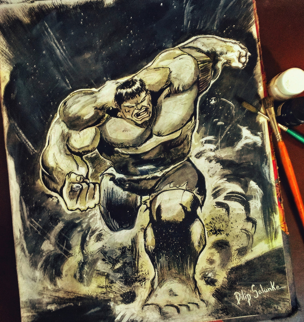 Hulk Smash poster colour painting