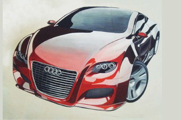 sketch and painting car