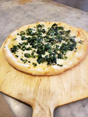 White Spinach Garlic Pizza