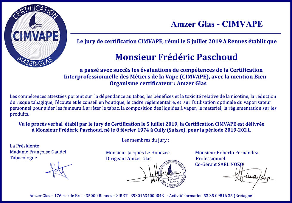 Diplome_Certification_CIMVAPE_M_FrédeÌ