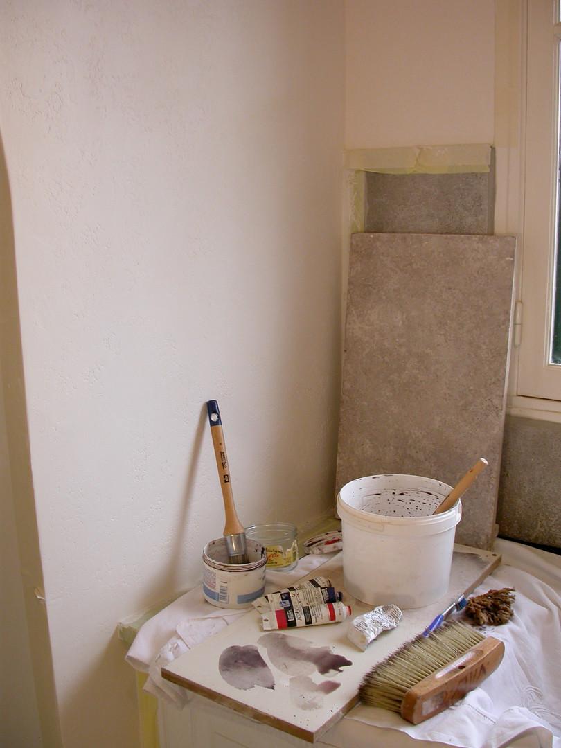 Peintre en décors réalisation de fausse pierre