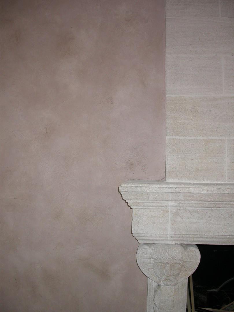 Peintre en décors Enduit décoratif Rose poudré