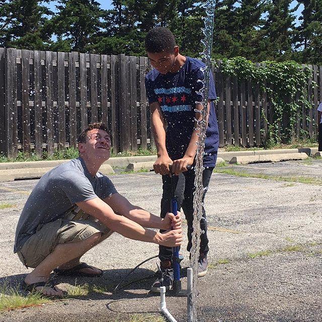 Designing and shooting water powered rockets at James Jordan Boys and Girls Club