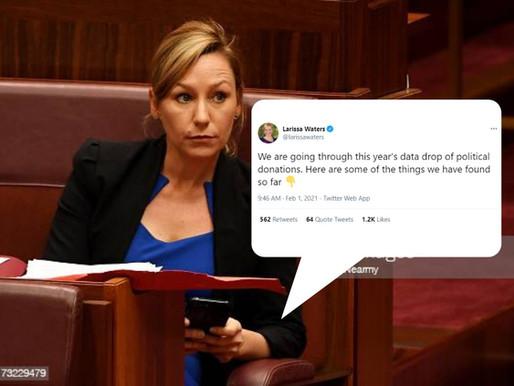 A deep dive into Larissa Waters' political donations Tweets