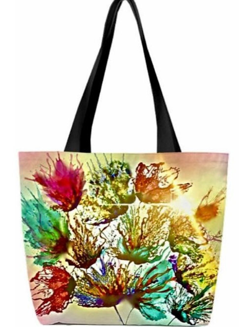 'Floral Splash' Canvas Tote Bag