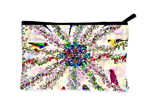 'Floral Aviary' Canvas Zippered Pouch