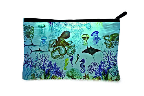 'Aquatic World' Canvas Zippered Pouch