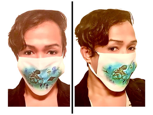 Aquatic World - Protective Mask (White Border)