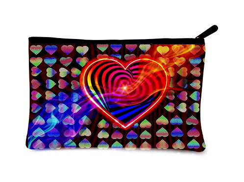 'Love Conquers' Poly-Nylon Zippered Pouch