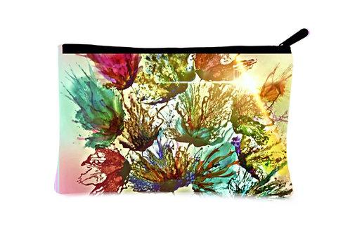'Floral Splash' Canvas Zippered Pouch