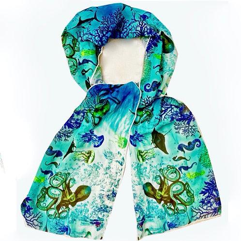 'Aquatic World' Chiffon Scarf