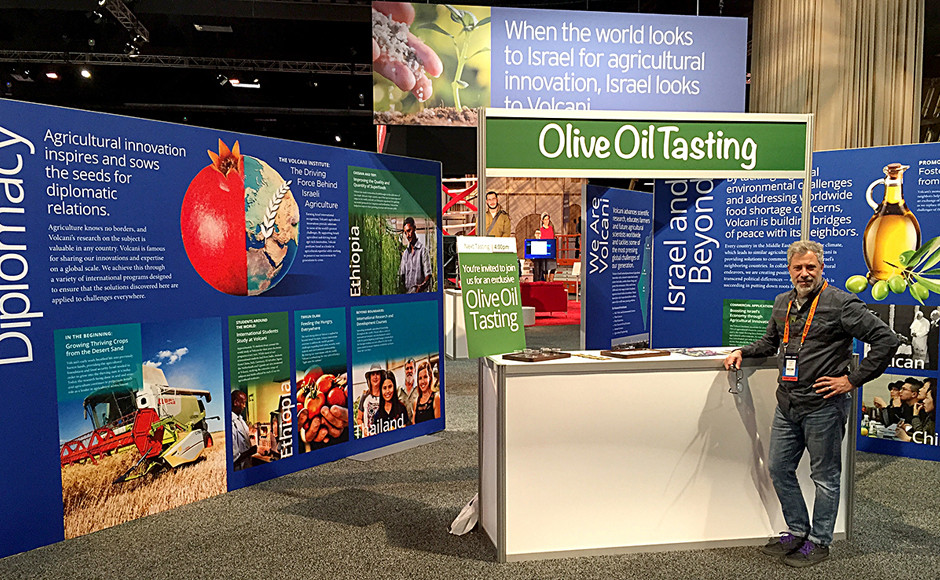 Demonstration area with Israeli olive oil tasting bar