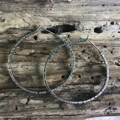Coined Edge Hammered Hoops
