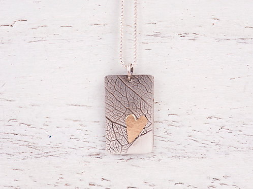 Pressed leaf pendant with Gold Heart