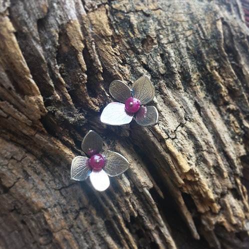 Hydrangea Petal Earrings in Sterling with ruby beads and 14k gold