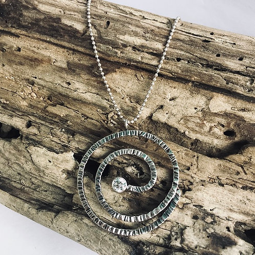 Sterling Spiral Pendant with Diamond