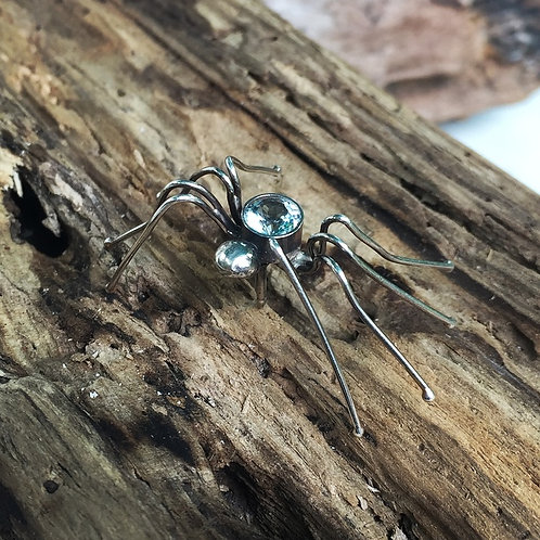 Spider with Aquamarine Pin in Sterling
