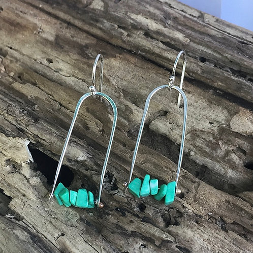 Turquoise beads on Sterling Earrings