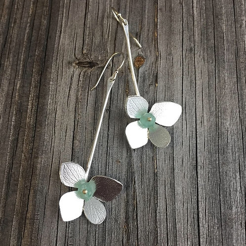 Long Hydrangea Petal Earrings in Sterling with Apatite beads and 14k gold