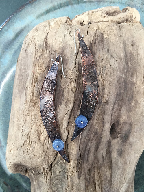 Copper Crescent Moons with Sapphire beads