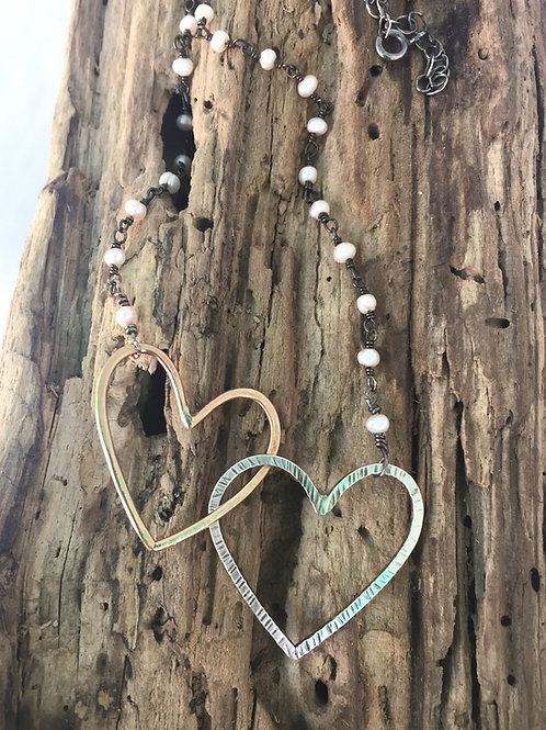 Two Hearts and Pearls necklace