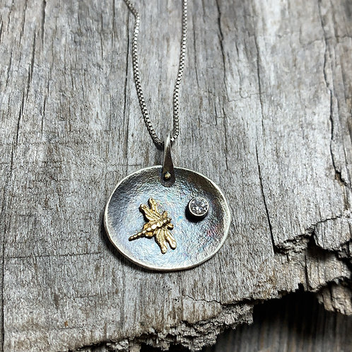Gold Dragonfly pendant with Diamond and Sterling silver