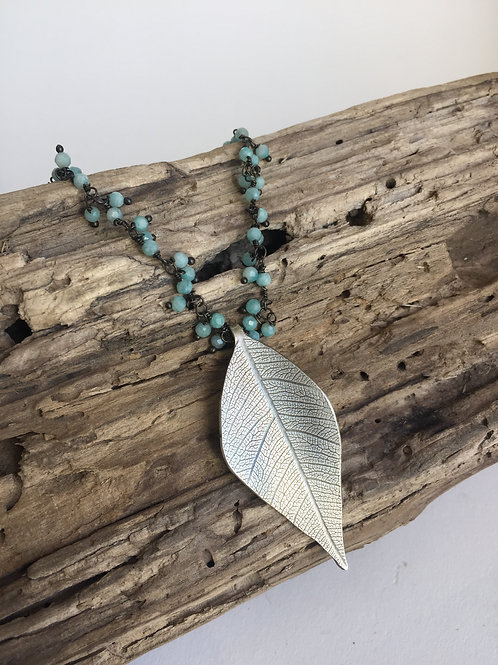 Leaf pendant on Dangly Amazonite chain