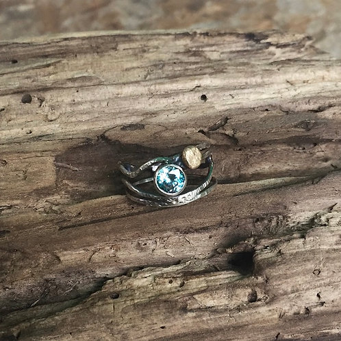 """Blue Zircon and Sterling ring with Gold """"Sun"""""""